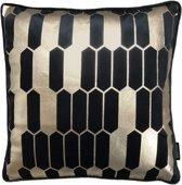 Velvet Honeycomb Zwart Kussenhoes | Fluweel - Polyester | 45 x 45 cm | Goud