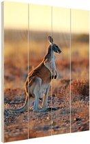 Staande rode kangoeroe Hout 80x120 cm - Foto print op Hout (Wanddecoratie)