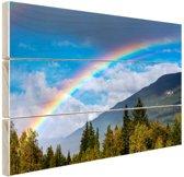 Kleurrijke regenboog over de lucht Hout 80x60 cm - Foto print op Hout (Wanddecoratie)