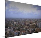 Luchtfoto van de stad Karachi Canvas 90x60 cm - Foto print op Canvas schilderij (Wanddecoratie woonkamer / slaapkamer)