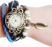 Lederen Quartz Horloge | Retro Armband | Blauw