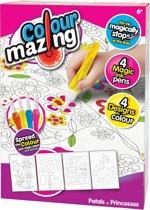 Colourmazing - Bloemblaadjes en Prinsessen - 4 tover-inktpennen inbegrepen