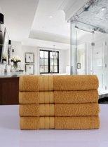 Luxe Katoen Handdoek Oker | 50x100 | Set van 4 | Met Een Geweven Bies