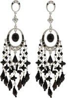 Oorbellen zilver kleur met zwarte details