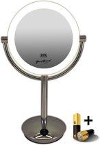 Gérard Brinard verlichte make up spiegel LED spiegel incl. batterij & USB kabel - 10x vergroting - Ø19cm spiegels