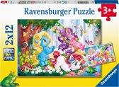 Ravensburger puzzel Lieve eenhoorn - Twee puzzels - 12 stukjes - kinderpuzzel
