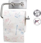 Luxe Hangende RVS Toiletpapier Houder Zonder Klep - WC Rolhouder Hangend Verchroomd - Closetrolhouder - Zelfklevend - Zonder Boren