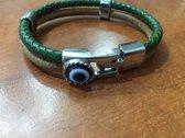 MP Case® Bruin Leren Armband voor dames en heren met staal sluiting boze oog steen