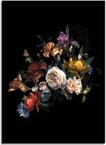 Vintage boeket bloemen poster DesignClaud - Bloemstillevens - Zwart + kleuren - A4 poster