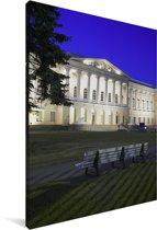 Gevel van het Hermitage museum in de avond Canvas 40x60 cm - Foto print op Canvas schilderij (Wanddecoratie woonkamer / slaapkamer)