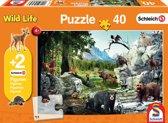 Dieren van het bos, 40 stukjes Puzzel