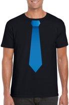 Zwart t-shirt met blauwe stropdas heren M
