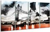 Glasschilderij Modern | Rood, Grijs, Zwart | 160x80cm 4Luik | Foto print op Glas |  F004422
