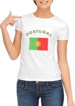 Wit dames t-shirt met vlag van Portugal L