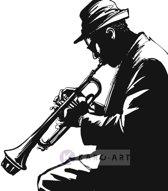 Schilderij - Jazz player in zwart en wit