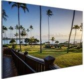Zonsopgang Kauai Aluminium 90x60 cm - Foto print op Aluminium (metaal wanddecoratie)