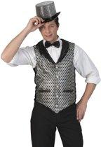 Zilver/zwart verkleed gilet voor heren - Carnaval verkleed accessoire voor volwassenen 48-50 (S/M)