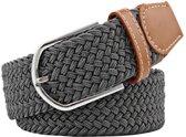 Fako Fashion® - Elastische Riem - Canvas - Elastisch - Gevlochten - 105cm - Grijs