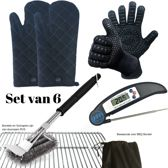 Set van 2 BBQ Handschoenen (Kevlar-Aramide), 2 Canvas Ovenwanten, 1 BBQ Borstel met Schraper en 1 Zwarte Inklapbare Vleesthermometer