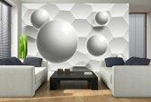 Fotobehang 3D, Modern | Wit, Grijs | 152,5x104cm