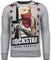 Local Fanatic Marilyn Rockstar - Rhinestone Sweater - Grijs - Maten: M