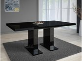 Meubella - Eettafel / Eetkamertafel Glamour - Uitschuifbaar - Zwart - 120-160 cm