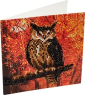 Diamond Painting Crystal Card Kit® Herfst Uil - 18x18 cm