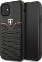iPhone 11 Backcase hoesje - Ferrari - Effen Zwart - Leer