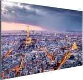Parijs vanuit de lucht Aluminium 180x120 cm - Foto print op Aluminium (metaal wanddecoratie) XXL / Groot formaat!
