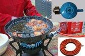 Driepoot wokbrander 7.5 KW met wokpan, slang en drukregelaar