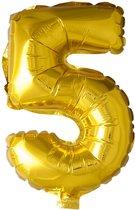 Folie Ballon Cijfer 5 Goud 41cm met rietje