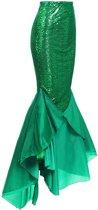 Lange zeemeermin rok groen - sequin pailletten tule glitter maxirok