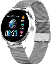 Tijdelijk LAAG GEPRIJST - Gelukkig 2020 - NIEUW - Belesy® Q9 - Smartwatch - Zilverkleur - Kleurenscherm - 1,3 inch - Stappenteller - Bloeddrukmeter - Verbrande calorieën