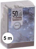 Kerstverlichting op batterij helder wit 50 lampjes