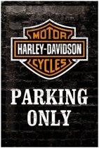 Harley davidson parking only Metalen wandplaat 20-30