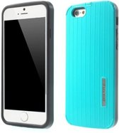 PC/TPU Hardcase Lijnen iPhone 6(s) - Cyaan