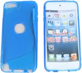 Apple iPod Touch 5 S Line Gel Silicone Case Hoesje Transparant Blauw Blue