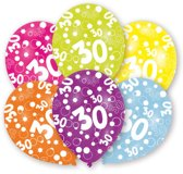 6 Latex Balloons All Round Printed Age 30 27.5 cm/11