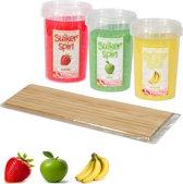 Suikerspinsuiker fruitmix 1, 3 x pot á 450 gram incl.  ± 100 stokjes