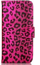 Apple Iphone 7 / 8 Roze bookcase hoesje (jachtluipaard patroon)