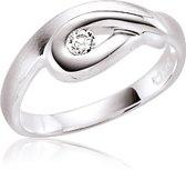 Classics&More - Zilveren Ring Mat glanzend met zirkonia