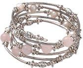 Zoetwaterparel en edelstenen armband Pearl Metal Wrap Rose Quartz