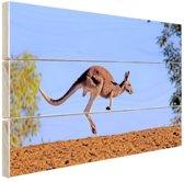 Rode kangoeroe Hout 60x40 cm - Foto print op Hout (Wanddecoratie)