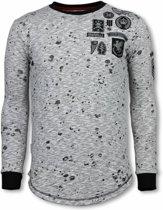 Local Fanatic Longfit Embroidery - Sweater Patches - Guerrilla - Grijs - Maten: XXL