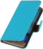 MiniPrijzen -  booktype - bookstyle - Wallet Case - Flip Cover - Book Case Bescherm Hoes Turquoise Samsung Galaxy S6 PU Leder Telefoonhoesje - Smartphone hoesje