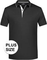 Grote maten polo shirt Golf Pro premium zwart/wit voor heren - Zwarte plus size herenkleding - Werk/zakelijke polo t-shirt 3XL