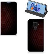 Huawei Mate 30 Lite Hoesje met Magneet Geruit Rood