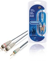 Bandridge - RCA - Aux kabel Stereo Audiokabel 3.5 mm Male - 2x RCA Male - 1 meter