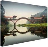 Chinese brug Canvas 180x120 cm - Foto print op Canvas schilderij (Wanddecoratie woonkamer / slaapkamer) XXL / Groot formaat!