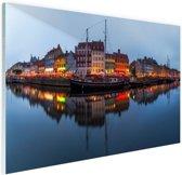 Nyhavn in schemering Glas 180x120 - XXL cm - Foto print op Glas (Plexiglas wanddecoratie)